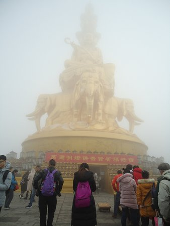 Emeishan, China: because of foggy,the temple doesn't look bright