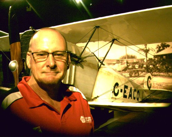 Bundaberg, Australia: Photo of myself and Bert Hinklers first plane he owned and piloted into the history books.