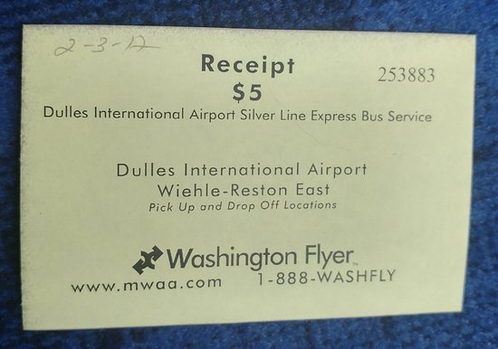 Dulles, VA: The bus ticket