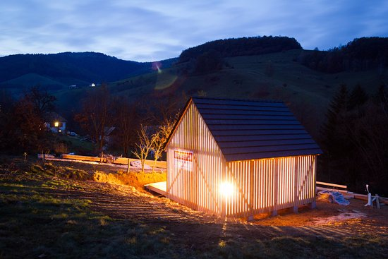 Banska Bystrica Region, Slovakia: New beehouse at night.