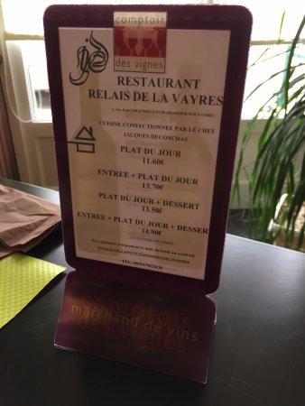 Oradour-sur-Vayres, Frankreich: carte menu