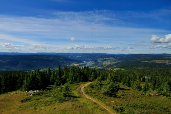 Oyer Municipality, Norway: The Gudbrandsdalen valley, seen from the top of the bike park