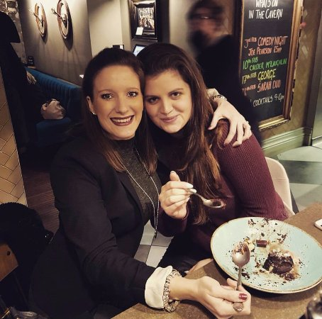 Oakham, UK: Me and my best friend enjoying a delicious dessert- this was off of the specials board!