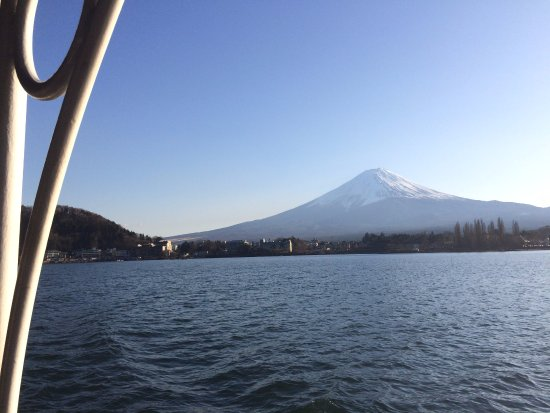 Yamanashi Prefecture, Japan: Mt Fuji from lake kawagutchiko from boat
