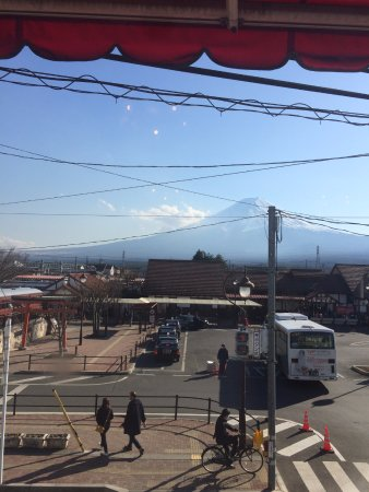 Yamanashi Prefecture, Japan: view from restaurant opposite the bus station.