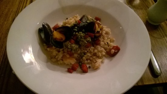Wedmore, UK: Mussels and Pollock Risotto