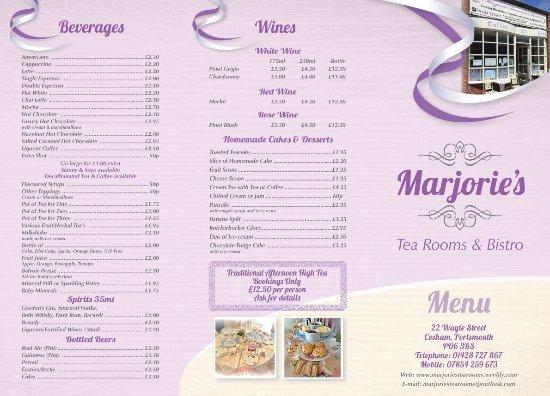 Cosham, UK: Marjorie's Tearooms & Bistro Menu