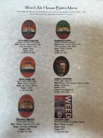 Weed, Californien: Beer menu