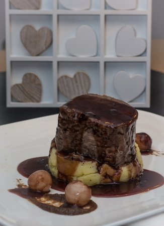 Scunthorpe, UK: Braised Shin of Beef, creamed potatoes, burnt onion puree and Red Wine Gravy