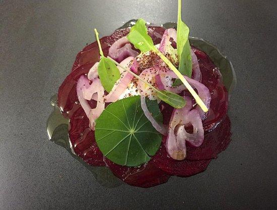 Sawtell, Australia: house label-pickled beetroot-roasted onion-nasturtium