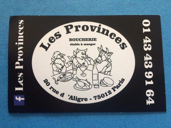 Les Provinces Boucherie Restaurant Carte De Visite