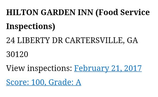 Hilton Garden Inn Cartersville: Just had a perfect score from the Health Department!