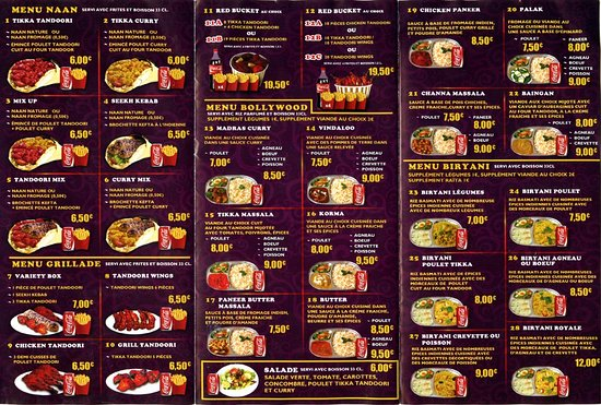 Menu 1 - Picture Of Indian Food, Ris-Orangis - Tripadvisor