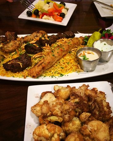 Irving, TX: Well-prepared and flavorful Mediterranean food! This is the platter for two, and is probably eno