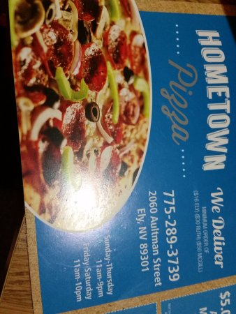 Ely, NV: Hometown Pizza flyer