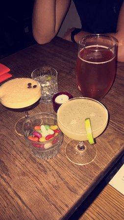 Headingley, UK: Espresso cocktail, apple daiquiri, gin and tonic and IPA.