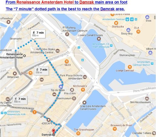 Walking Direction From The Hotel To Damrak Main Area Picture Of: Amsterdam Hotels Map At Slyspyder.com