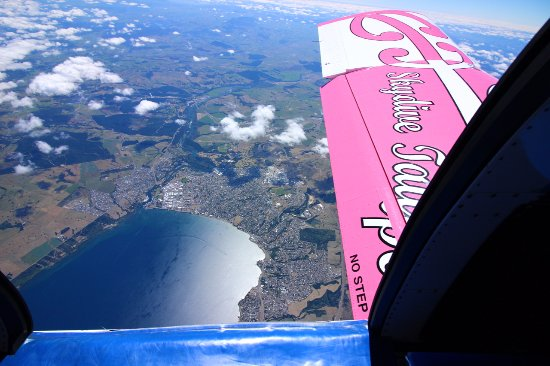 Plane ride up to altitude with views of Taupo and area