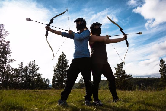 Campbell River, Canada: Combat Archery. Note the safe foam arrow heads.
