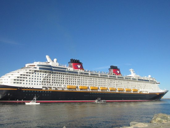 Jetty Park Campground: Disney ship leaving port next to Jetty Park.