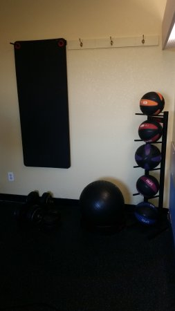 Pryor, OK: Our fitness room features weighted medicine balls.