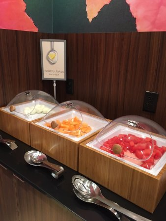 Fremont, NE: fruit and boiled eggs on breakfast buffet