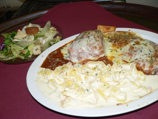 Littleton, CO: Mama Special.  Three of our favorites all on one dish!  Lasagna, Chicken Parm & Fettucini Alfred