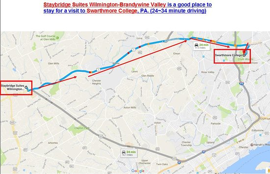 Glen Mills, PA: Direction from the hotel to Swarthmore College and Swarthmore city