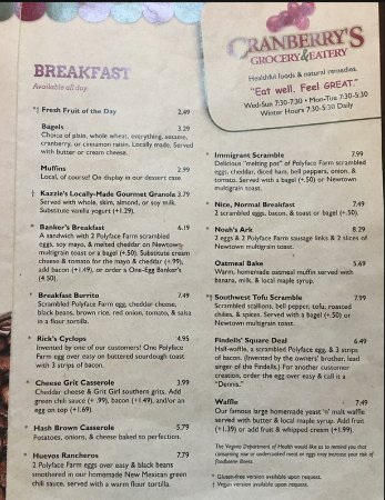 Cranberry's Grocery & Eatery: breakfast menu