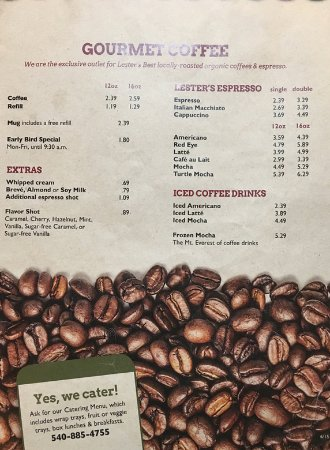Cranberry's Grocery & Eatery: Coffee menu