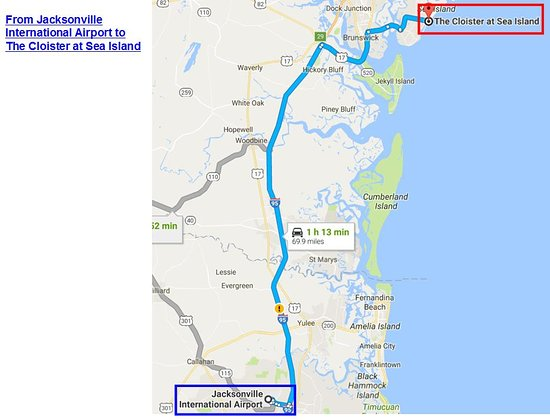 The Cloister at Sea Island: Map direction from Jacksonville International Airport to The Cloister at Sea Island