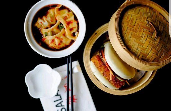Sala Sala Restaurant: Steamed bun of roasted pork belly & pickled cucumber and Pork & chive dumplings with red chilli