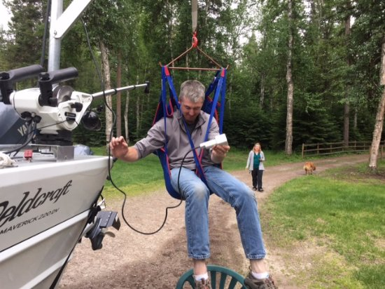 "Whitefish, MT: Captain Chris testing out his new addition ""The Fun Raiser"""