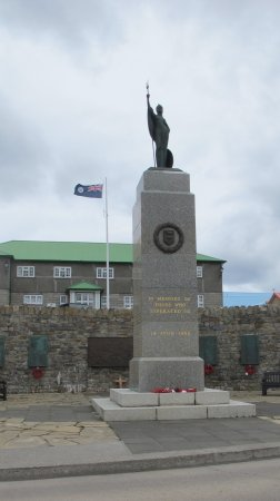 1982 Liberation Memorial: Plaques on the wall enumerate the people who died in the Falkland lslands' war.