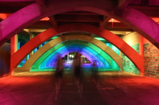 Adelaide Photography Tours: Beneath the bridge in Elder park with ghostly images of girls walking towards me.
