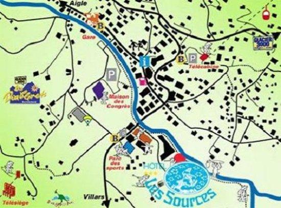 Les Diablerets, Suíça: Hotel les Sources Diablerets Map