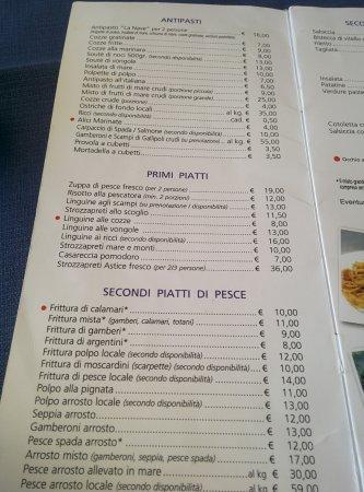 Sant'Isidoro, Italy: Menu