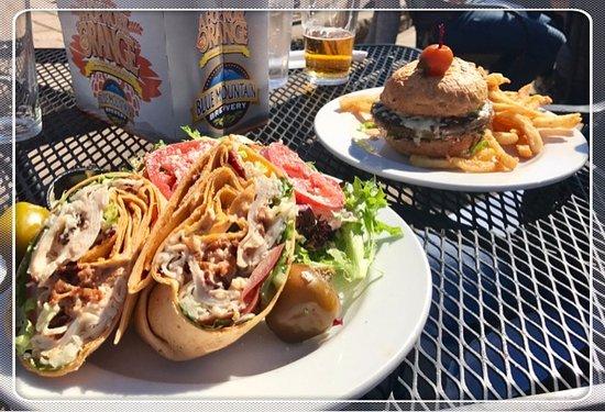 Afton, VA: turkey wrap with salad, veggie burger & fries