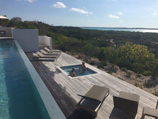 South Caicos: main pool and hot tub at main house