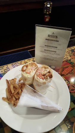 Roots Real Food Real Beer: Crispy Shrimp Wrap Daily Special