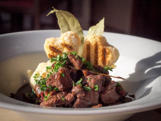 Reedham, UK: Beef Bourguignon, with Herby Creamed Potato