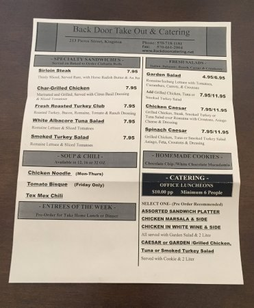 Kingston, PA: The current menu 2/22/2017