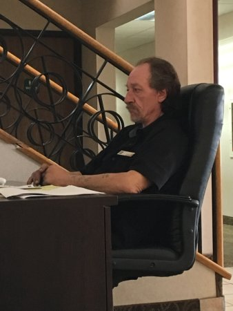 """Saint Cloud, MN: This man has been sitting here """"training"""" on a computer for 2+ hrs, very uncomfortable out here"""