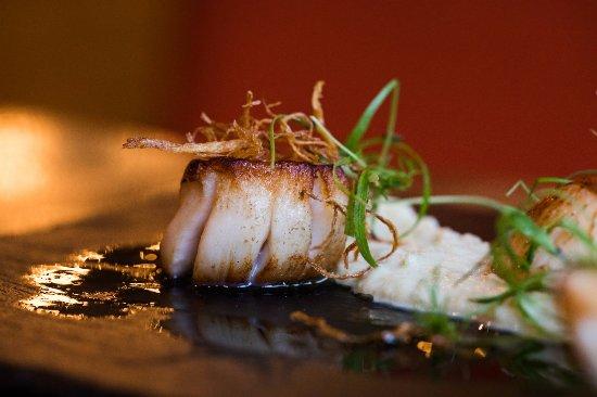 Tron Bar & Kitchen: Barra scallops fennel puree crispy shredded ginger orange vinaigrette  zest, credit