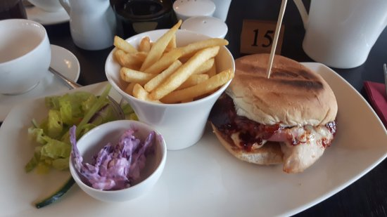 Ormskirk, UK: Chicken bacon burger and fries