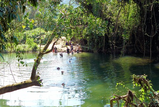 "Cayo, Belize: The ""swim"" across the Roaring River."