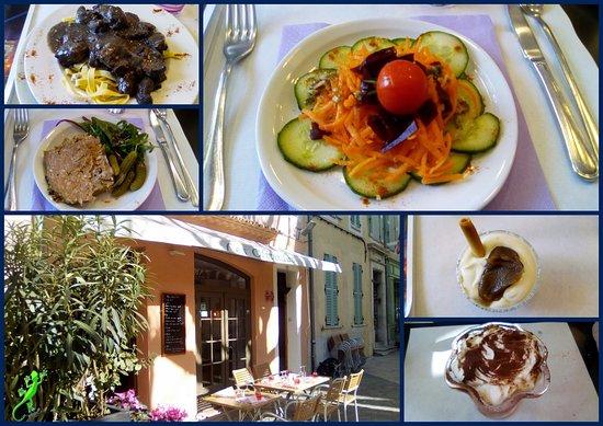 Collobrieres, Prancis: Le restaurant avec les plats proposés.