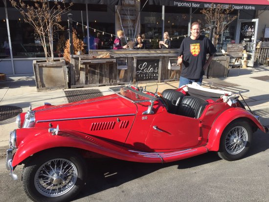 Dr. Jim with his 1954 MGTF parked in front of Lola's European Cafe in Asbury Park NJ