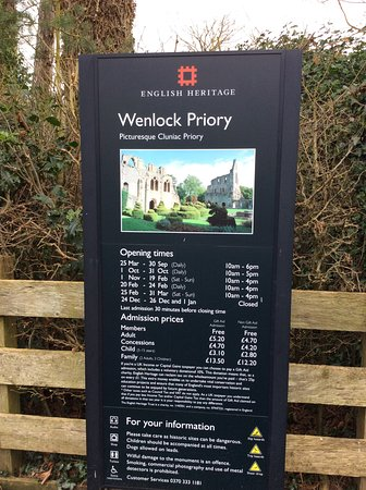 Much Wenlock, UK: Opening times, always useful.