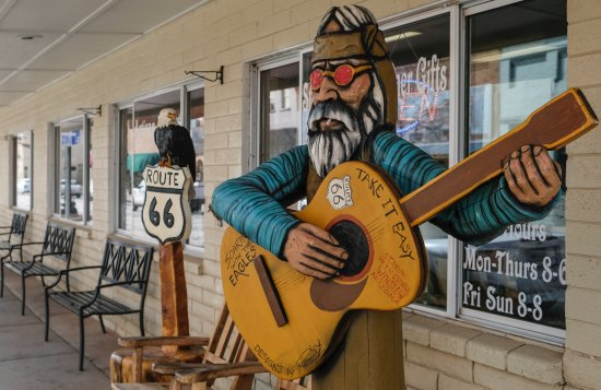 Winslow, AZ: Carving across the street from Standin' on the Corner.